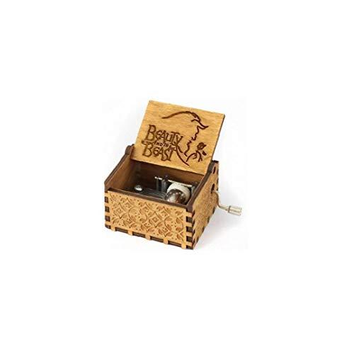 LAANCOO La Caja de música Madera, clásico talladas Musical Box Crafts Bella y la Bestia Regalos para los niños Amigos