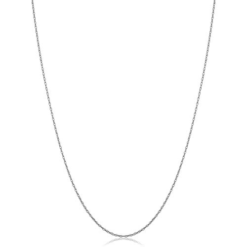 10k White Gold Rope Chain Pendant Necklace (0.7 mm, 16 inch) | Very Thin and Lightweight