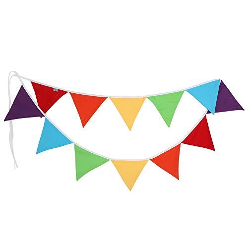 PREMYO Festoni Bandierine Colorate Stoffa Triangolari - Decorazione Cameretta Bambino - Ghirlanda Nascita Multicolore