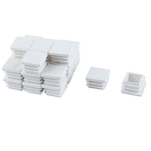 sourcingmap 24pcs Bouchon Pied de Chasie Embout Capuchon Carré Jambe Tube Insert Patin Table Meuble Protection Plastique Blanc 20 mm x 20 mm