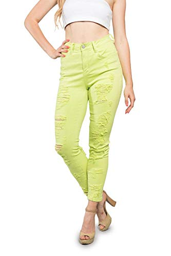 American Bazi Neon Double Distressed Ripped Slim Fit Skinny Jeans RJL369 - Lime - 9 - EE10B