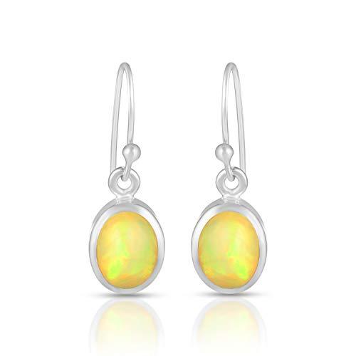Genuine Fire Opal Earrings, October Birthstone Jewelry, Natural Opal Earrings, 925 Sterling Silver Multi Fire Opal Earrings, Simple Opal Earrings