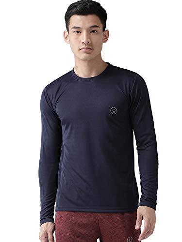 CHKOKKO Men's Gym Regular Fit Full Sleeves T-Shirt Navy Blue Size XL