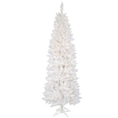Vickerman Sparkle White Pencil Tree with Dura-Lit 150 Clear Lights, 5-Feet by 25-Inch