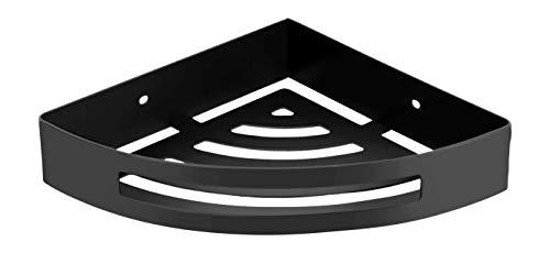 Ambrosya® | Exklusiver Duschkorb aus Edelstahl | Ablage Bad Badezimmer Badregal Duschablage Dusche Duschregal Eckablage Halter Halterung Korb Regal Wandablage (Edelstahl (Schwarz), 1 Etage)