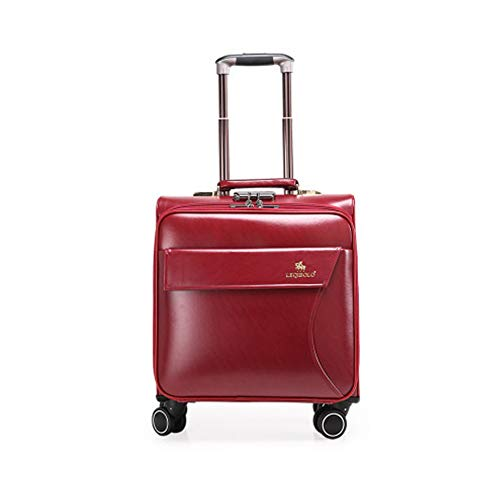 20In Mini Business Suitcase PU Cortex Boarding The Chassis Lightweight Suitcase With Password Lock Durable Trolley Case For Men And Women International Travel,Burgundy