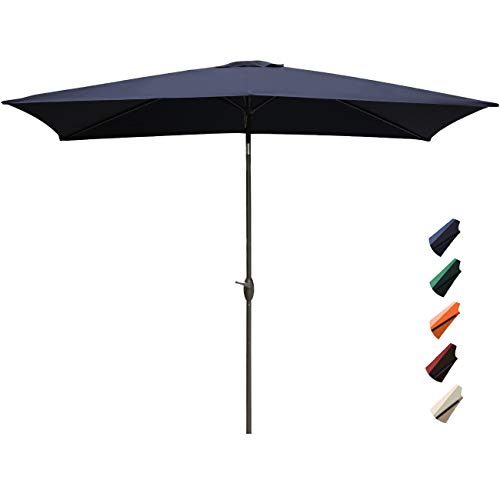 RUBEDER Rectangular Patio Umbrella - 6.6 by 10 Ft Outdoor Market Table Umbrellas with Push Button Tilt and Crank Lift,6 Sturdy Square Ribs (6.6 by 10 Ft, Navy)