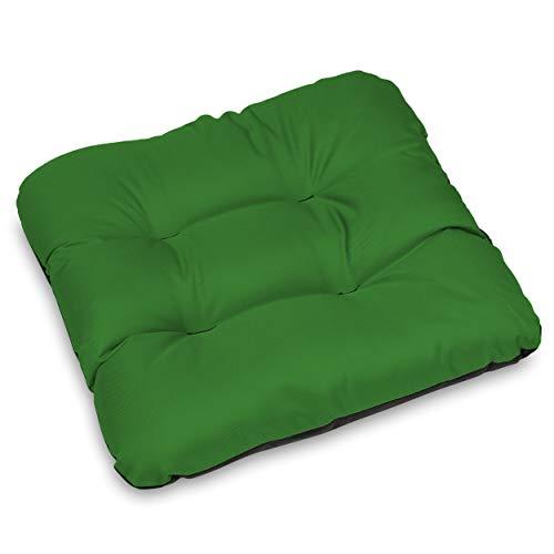 SuperKissen24. Set de 4 Cojines de Asiento - Cojín de Silla 45x45 cm para Interior y Exterior Cómodo e Impermeable para Muebles de Jardin, Terraza, para Suelo - Verde ✅