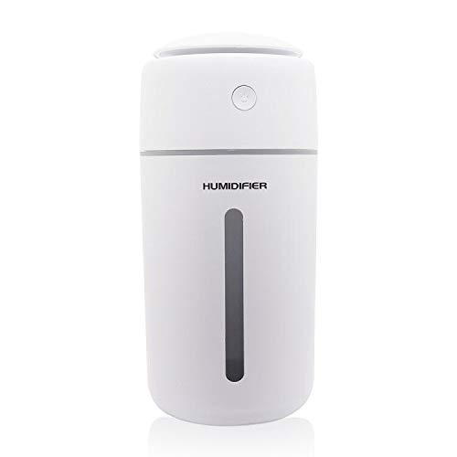 EXTSUD Mini Umidificatore a Ultrasuoni 500ml USB Diffusore Silenzioso Spegnimento Automatico Senza Acqua 10-15 Ore Uso Continuo Umidificatore da Tavolo per Casa Yoga Ufficio Camera da Letto Auto