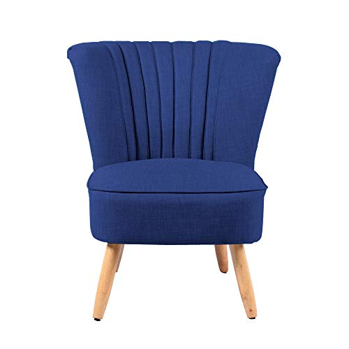 INMOZATA Armchair in Linen Accent Tub Chair High Wing Back Occasional Chair for Bedroom Living Room Dining Room Chair (Navy Blue)