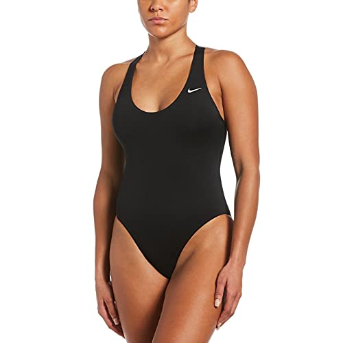 Nike Crossback One Piece Badeanzug Damen, Damen, Trainingsanzug, NESSB362-001, schwarz, S