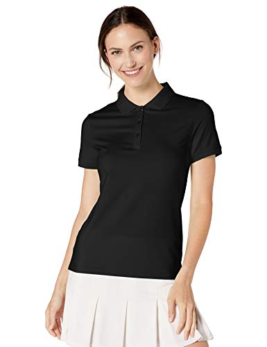 Amazon Essentials Women's Short-Sleeve Performance Polo, Black, M