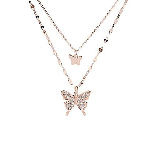 wangk s925 Sterling Silber Doppelschicht Schmetterling Halskette 2021 Neue weibliche leichte Luxus Nischen Design Schlüsselbein Kette Netz rote Fee Anhänger