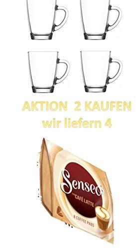 Senseo Café Latte, 8 Kaffee Pads + 2 Glasbecher mit Henkel Aktion 2 kaufen wir liefern 4 Glastassen.