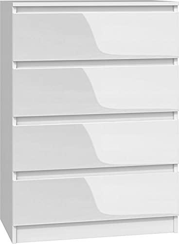 Kommode mit 4 Schubladen Weiss Hochglanz M4BP, Diele, Flur, Anrichte, Mehrzweckkommode, Highboard, Sideboard, Mehrzweckschrank, Wohnzimmer, Esszimmer (Weiß)