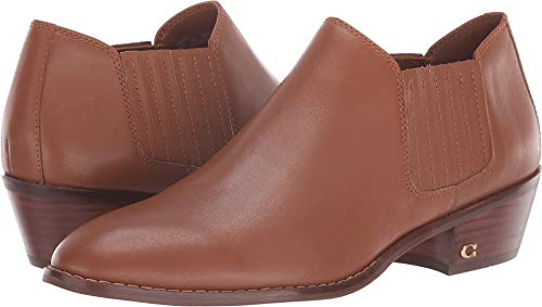 COACH Leather Ankle Bootie Saddle 8