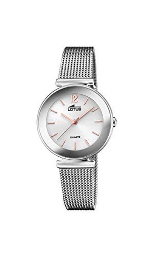 LOTUS Reloj Modelo 18434/B de la colección Trendy, Caja de 30,5 mm Plata con Correa de Acero para señora