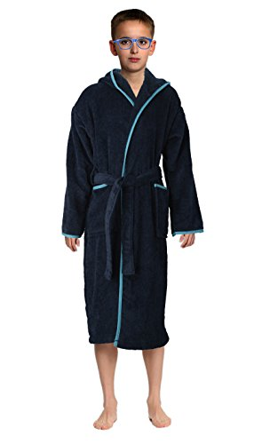 Bath Robe Towel Men s Boys 100% Cotton Hooded-Terrycloth-Velour Finishing Outside- 2 pockets- color Navy Blue