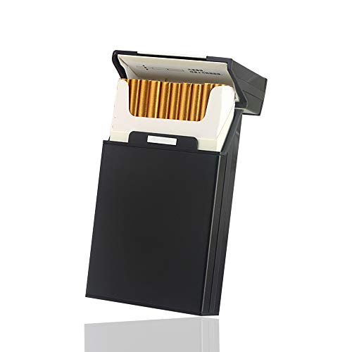 Brushed Aluminum Cigarette Case,Lightweight Cigarette Cigar Protective Cover Box With Solid Magnetic Flip Top Closure,20pc 100's Capacities Metal Cigarette Hard Box Waterproof,Scratch Resistant(black)