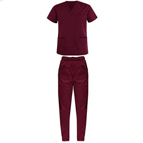 Outlet Divise Divisa ospedaliera Uniforme Medica Casacca + Pantalone Scollo AV Unisex Colori A Scelta (XXS, Bordeaux)