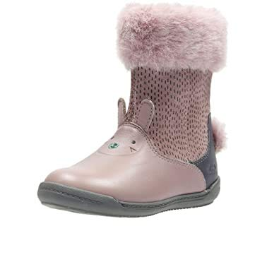 Clarks Iva Time Girl First Boots with Furry Collars and Bunny Tail 5.5 Dusty Pink