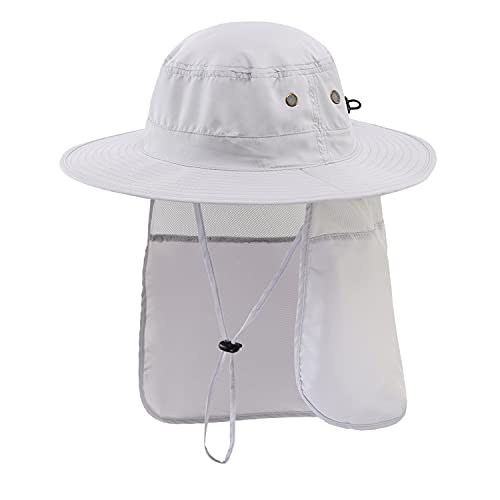 Home Prefer Mens Sun Hat with Neck Flap Quick Dry UV Protection Caps Fishing Hat (White)