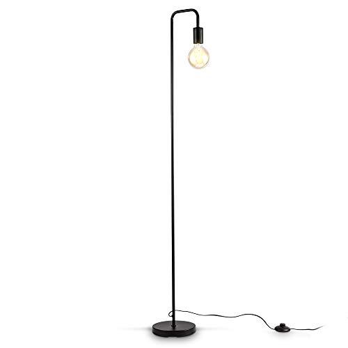 B.K.Licht Lampada da terra adatta per 1 lampadina E27 non inclusa, Altezza 140cm, Lampada a stelo curva con 1 punto luce per soggiorno, Interruttore a pedale, piantana retro in metallo nero