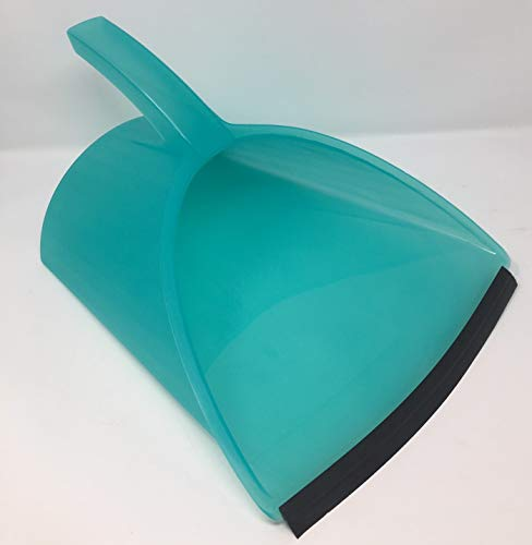 Handy Pan - Aqua - Large Capacity Heavy Duty Dust Pan | Made in USA Great for Home, Shop, Garage, Classroom Use, Waterproof, Stackable, Stands Upright, Flexible Rubber Edge Sweeps All The Debris in!