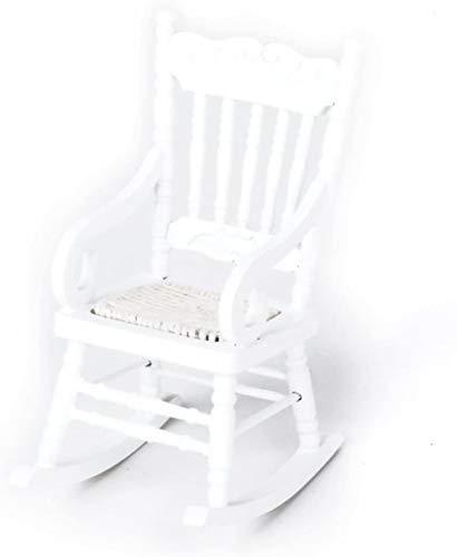 juguete LF- 1/12 de muñecas Miniatura de los Muebles Silla de Madera Mecedora - Blanco Aprender