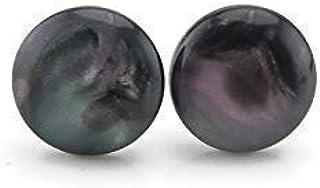 Opalescent Black Resin Cabochon Metal Free Plastic Post Stud Earrings, 10mm