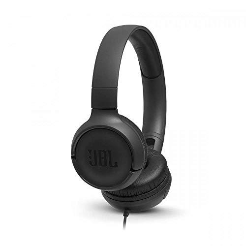 JBL Tune500 On-Ear Kopfhörer mit Kabel - Ohrhörer mit 1-Tasten-Fernbedienung, integriertem Mikrofon und Alexa-Integration - Telefonieren und Musik hören unterwegs Schwarz