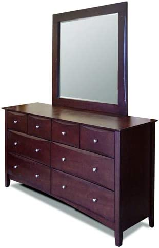 49 x 37 Solid Wood Construction Framed Dresser Beveled Mirror with Stained Wood Finish with Traditional Design and Gorgeous Feel and Style Michelle The Bedroom Store