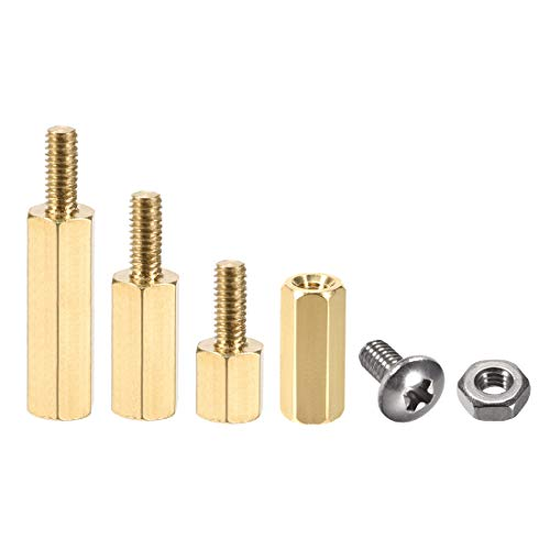 uxcell M2.5 Male-Female Brass Hex PCB Motherboard Spacer Standoff Screw Nut Kit for FPV Drone Quadcopter, Computer & Circuit Board 40pcs