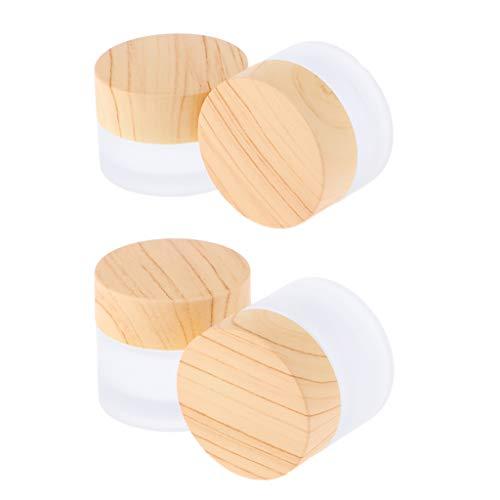 F Fityle 4 Pièces Pots Vide en Verre Transparent Perle de Stockage Pot Conteneur pour Perles, Nail Art, Paillette - 5g / 10g