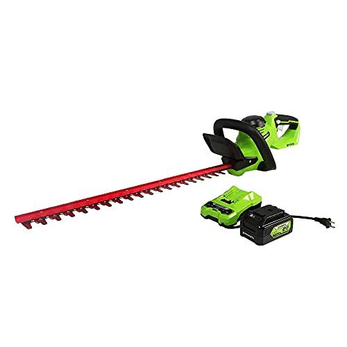 Greenworks 24V 22u0022 (Laser Cut) Hedge Trimmer, 4Ah USB Battery and Charger Included HT24B414