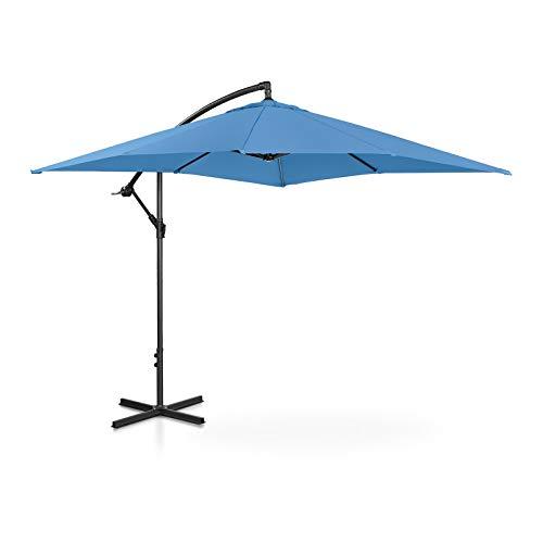 Uniprodo Ombrellone da Esterno Ombrello da Giardino Uni_Umbrella_SQ250BL (Blu, Quadrato, 250 x 250 cm, 180 g/m2, Inclinabile)