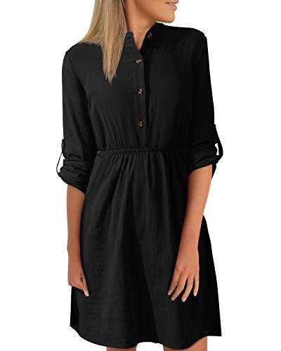 YOINS Damen Kleider Knielang Blusenkleid Elegant Longshirt V-Ausschnitt 1/4 Ärmel Hemdkleid Minikleid mit Knöpfe