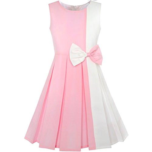 Sunny Fashion Robe Fille Bloc de Couleur Contraste Nœud Papillon Rose Blanc Partie 8 Ans
