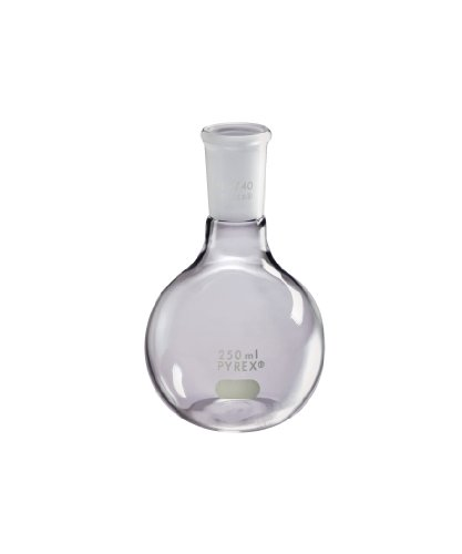 Corning Pyrex Borosilicate Glass Long Neck Florence Flat Bottom Boiling Flask with 24/40 Standard Taper Joint, 250ml Capacity (Case of 12)