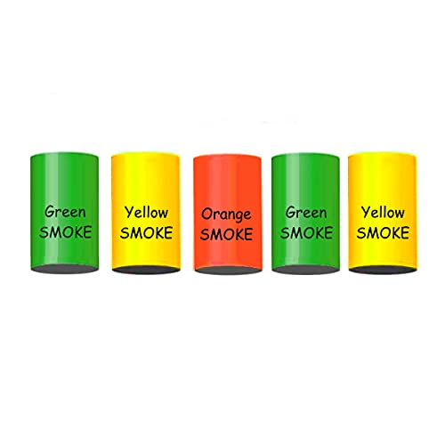 5er Set h2i Bengalo Rauch Vulkan Fontäne Party Feuerwerk Rauchfarbe grün orange gelb -...