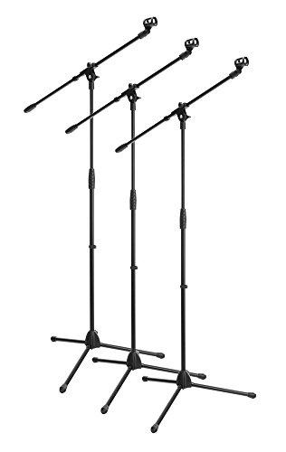 3x SET McGrey MBS-01 Mikrofonständer mit Galgen und Mikrofonklemme (Schwenkarm, höhenverstellbar bis ca. 154 cm, Dreibein, Kabelklemmen, Länge Galgen ca. 75 cm) schwarz