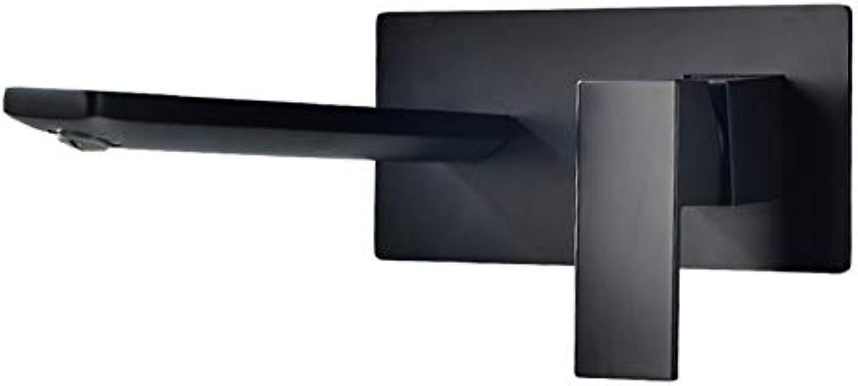Komplett aus Kupfer gefertigter schwarzer Waschtischarmatur mit dunkler Montage an einer vormontierten Wandwaschtischarmatur (A)