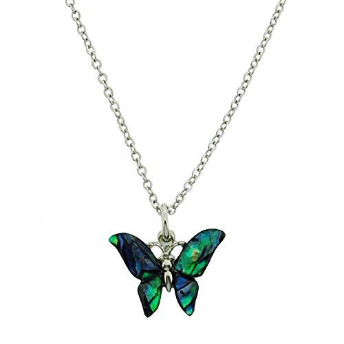 TOC - Collar con colgante de mariposa de concha de paua verde y azul, 40,6 cm + 5,08 cm