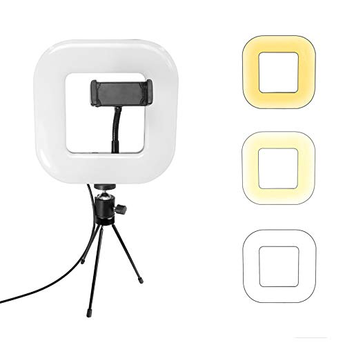 Aierp Square Light met driepod stand, verstelbare mini-ledcamera licht met 3 kleurenmodi, dimbare tabletop ledlamp voor live stream, vlog, make-up, YouTube, camera