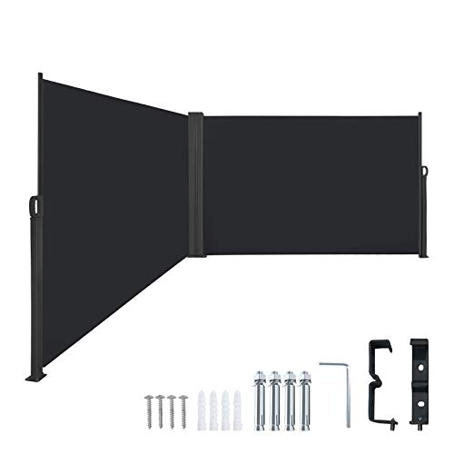 Froadp 200×600cm Ausziehbar Seitenmarkise Robust Polyester Windschutz und Sichtschutz Seitenrollo Markisen für Balkon Terrasse Garten(Anthrazit)