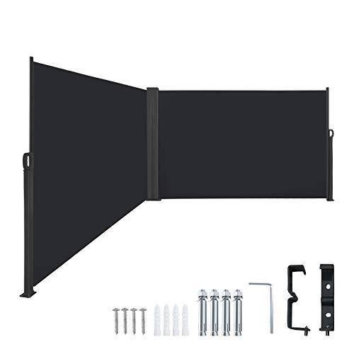 LZQ Seitenmarkise Sichtschutz Sonnenschutz Windschutz, Markisenstoff aus Polyester für Terrasse Camping seitlicher Windschutz (160x600cm, Anthrazit)