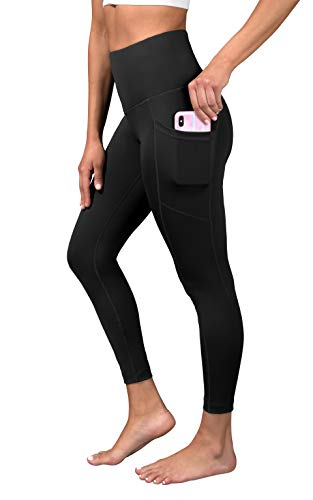 90 Degree By Reflex Super High Waist Elastic Free Ankle Legging with Side Pocket - Black - Small