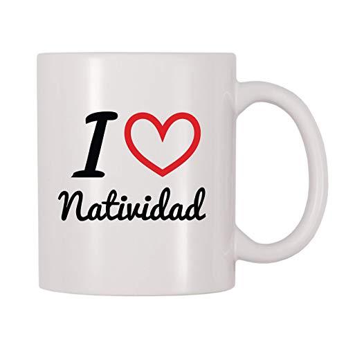 Taza de café con nombre personalizado de I Love Natividad (11 oz)