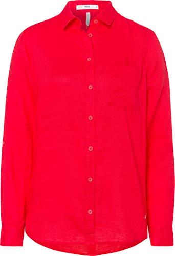 BRAX Damen Style Victoria Linen Leinenbluse Mit Brusttasche Uni Bluse, Summer RED, Small (Herstellergröße: 36)