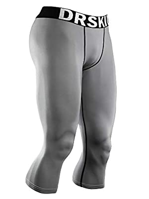 DRSKIN Men's 3/4 Compression Tight Pants Base Under Layer Running Shorts Warm Cool Dry (Line GR804, M) by